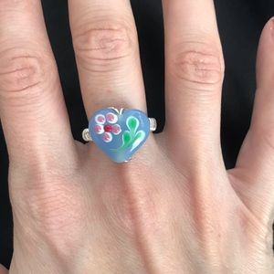 Silver Wire Ring with Hand-Painted Heart Bead